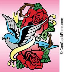 rose, oiseau tribal, tatouage