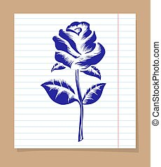 Rose on line notebook page - Drawing of rose on line...