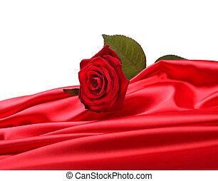 rose on red silk