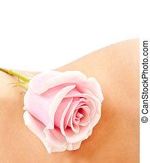 Rose on woman\'s waist