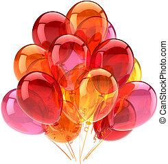 rose, orange, ballons, rouges, fête