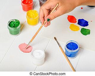 rose, palette, couleur, haut, sélectionne, girl, table.