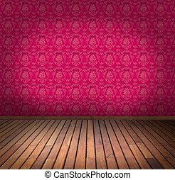 rose, papier peint, salle