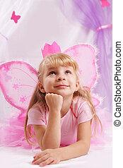 rose, papillon, couronne, princesse, voeux, confection, girl, ailes