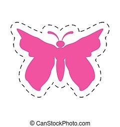 rose, papillon, image, icône