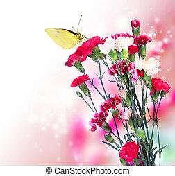 rose, papillon, oeillet