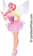rose, papillon, pointage, haut., vecteur, doigt, fée, ailes