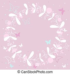 rose, papillons, fond