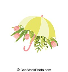 rose, parapluie, bouquet, printemps, illustration, tulipe, vecteur, vert, gabarit, stylique floral, fleurs, bonjour