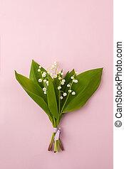 rose, pastel, fleur, espace, bouquet, vallée, fête, may-lily, arrière-plan., vue haut, copie, lis, composition