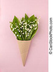 rose, pastel, fleur, fête, bouquet, may-lily, corne, arrière-plan., métier, vue haut, vallée, lis, composition