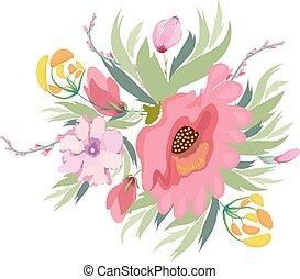 rose, pastel, fleurs, pourpre