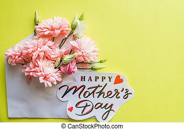 rose, pastel, mère, bouquet, chrysanthèmes, background.pink, mères, jaune, jour, chrysanthème, couleurs, arrière-plan., floral, bonbon, flowers.happy