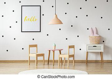 rose, pastel, style, ensemble, mignon, girly, mur, enfant, scandinave, dîner, jouet, nightstand, décorations, chambre à coucher, intérieur, bois, blanc