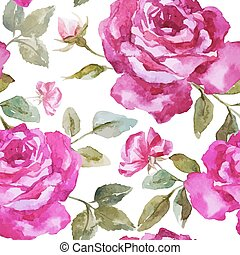 Beautiful watercolor vector rose pattern on white fon
