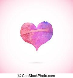 rose, peint, vecteur, coeur