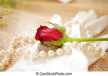 rose, perlen, handschuh, weinlese