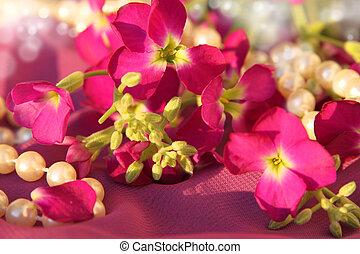 rose, perles, fleurs