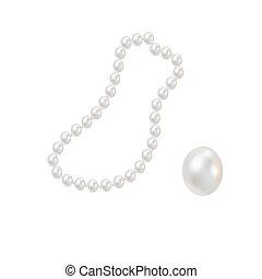 rose, perles, perles, romantique