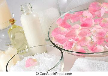 Rose petals, bath salt, body oil, body lotion