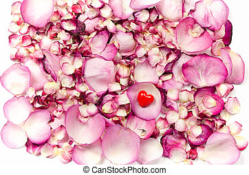 Rose petals and red heart backgrund