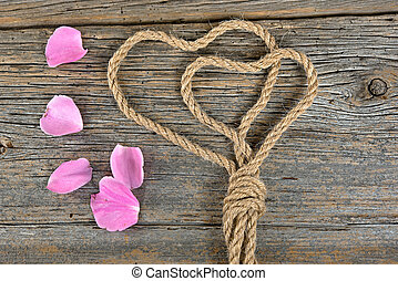 rose petals and rope hearts