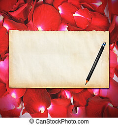 Rose petals background - Empty vintage paper with pencil on...