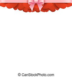 Rose Petals Border on white background. Valentines day