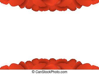 Rose petals border on white background.