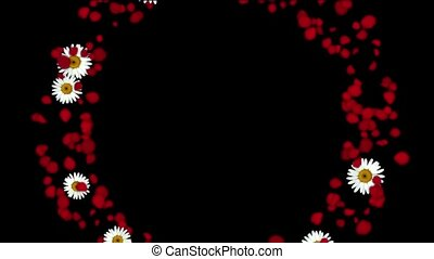 rose petals & daisy shaped wreath,wedding background,Valentine's Day.
