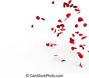 Rose petals falling on a surface on a white background...
