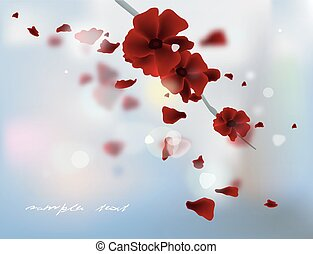 Rose petals - Falling red rose petals. Vector illustration