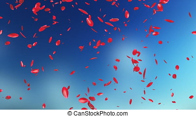 Rose Petals Flying, against blurry sky
