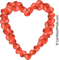 Rose petals in shape of heart on white background