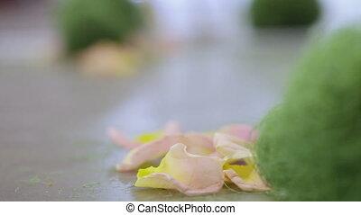 Rose petals - Lying on floor near arch rose petals wedding...