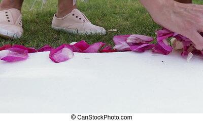 Rose petals on track