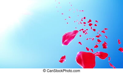 Rose Petals Sky Background (Loop) 4K - Calm background with...