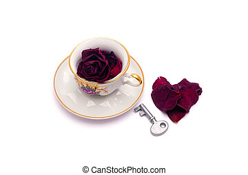 Rose petals tea with key and heart