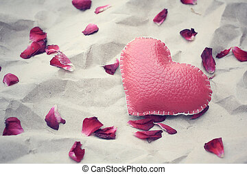 Rose petals with heart