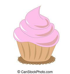 rose, petit gâteau