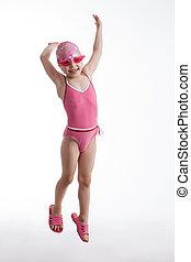 rose, petite fille, maillot de bain