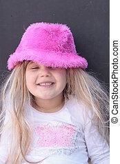 rose, peu, chapeau, girl, joli