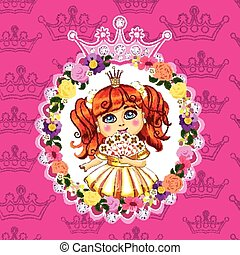 rose, peu, cheveux, fond, princesse, rouges