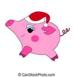 rose, peu, cochon, arrière-plan., vecteur, chapeau blanc, rouges, gentil