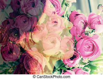 rose, photographie, femme, double, combiné, portrait, fleurs, exposition