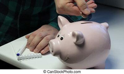 rose, pièces, elle., formulaire, notes, là, pig., porcin, notebook., table, marques, jets, banque, homme