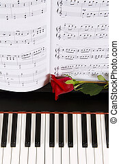 rose, piano, partition