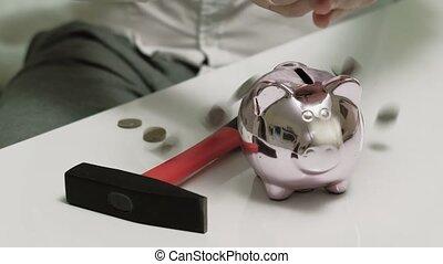 rose, pig., tirelire, business., investissements, homme argent