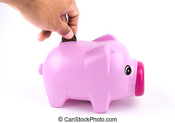 rose piggy, vrijstaand, bank, white.