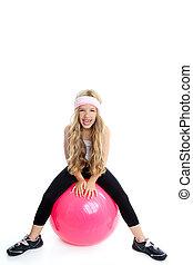 rose, pilates, yoga, gymnase, balle, girl, enfants